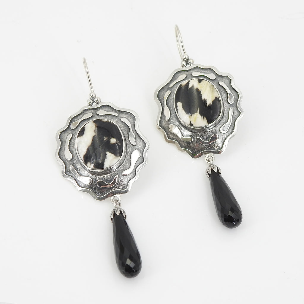 Sterling Silver Petrified Wood & Onyx Earrings