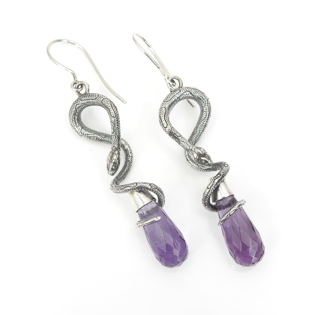 Sterling Silver Amethyst Snake Earrings