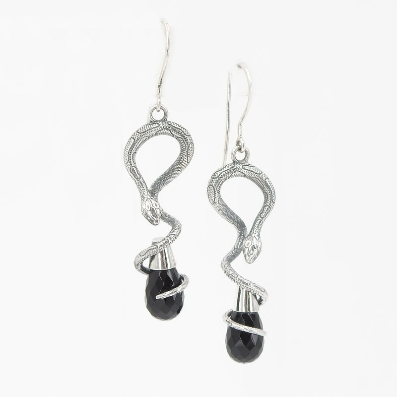 Sterling Silver Onyx Snake Earrings