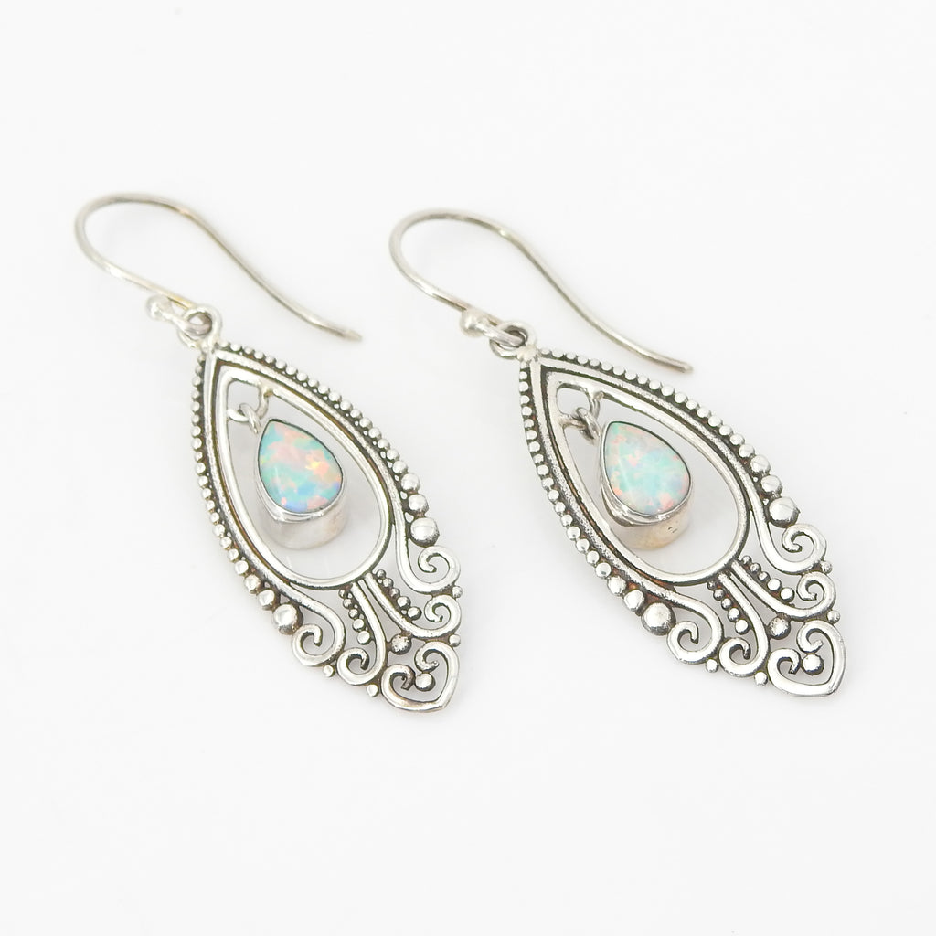 Sterling Silver Created Opal Dangle Earrings