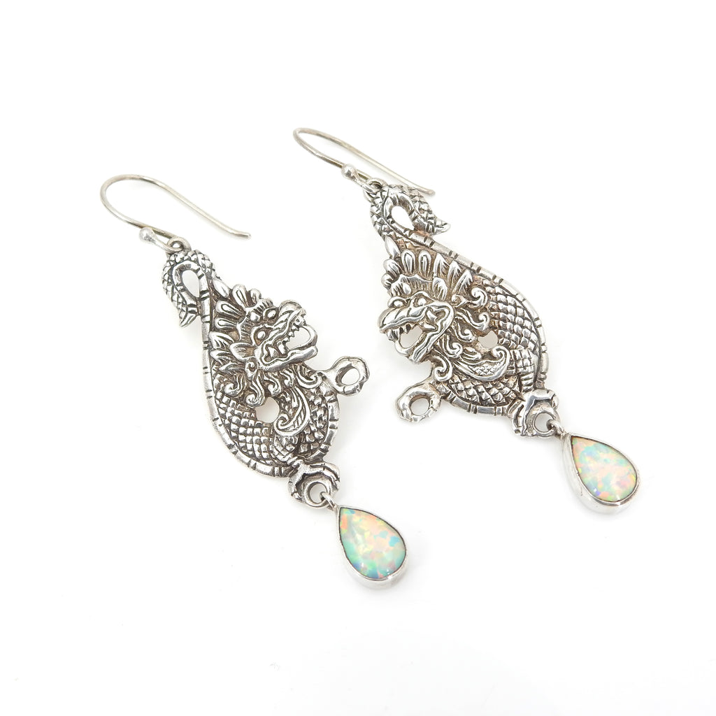 Sterling Silver Dragon & Created Opal Earrings