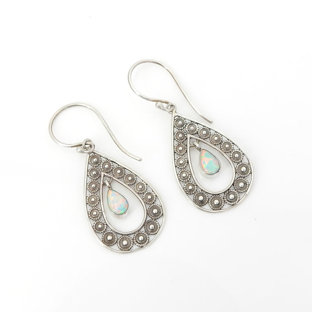 Sterling Silver Filigree Created Opal Earring