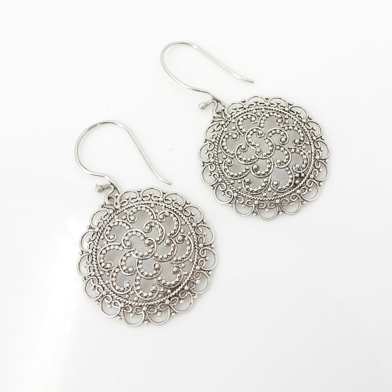 S/S Filigree Granulated Hoop Earrings