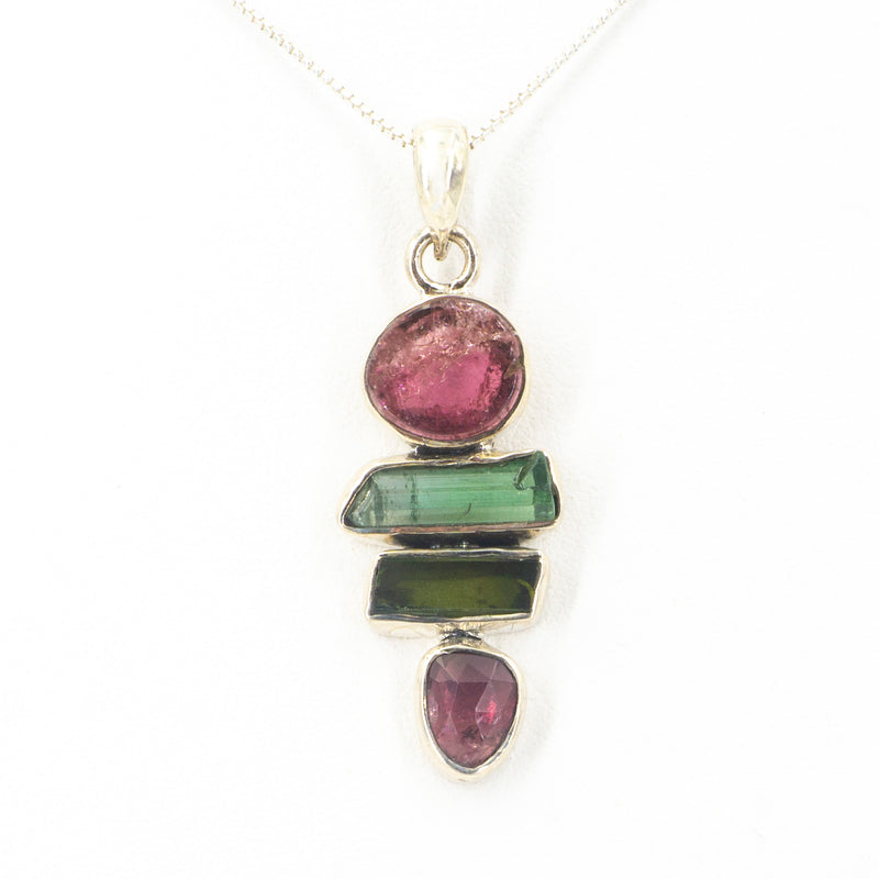 S/S Mixed Tourmaline Pendant
