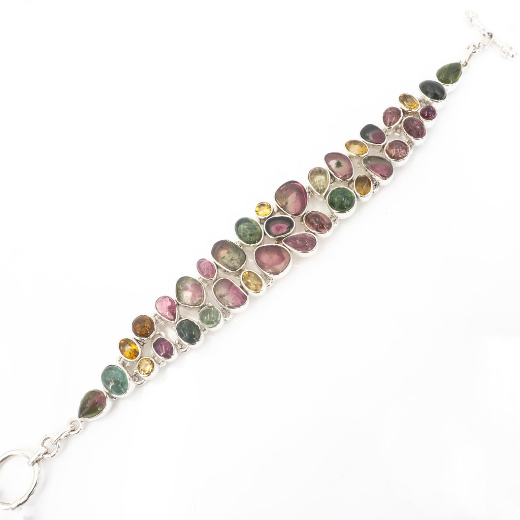 S/S Mixed Tourmaline Citrine Bracelet