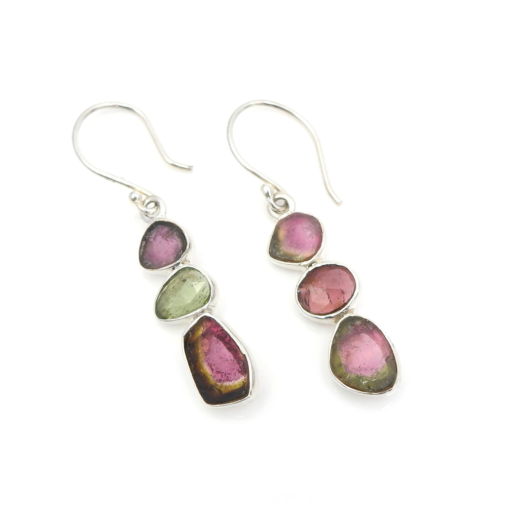 Sterling Silver Mixed Tourmaline Earrings