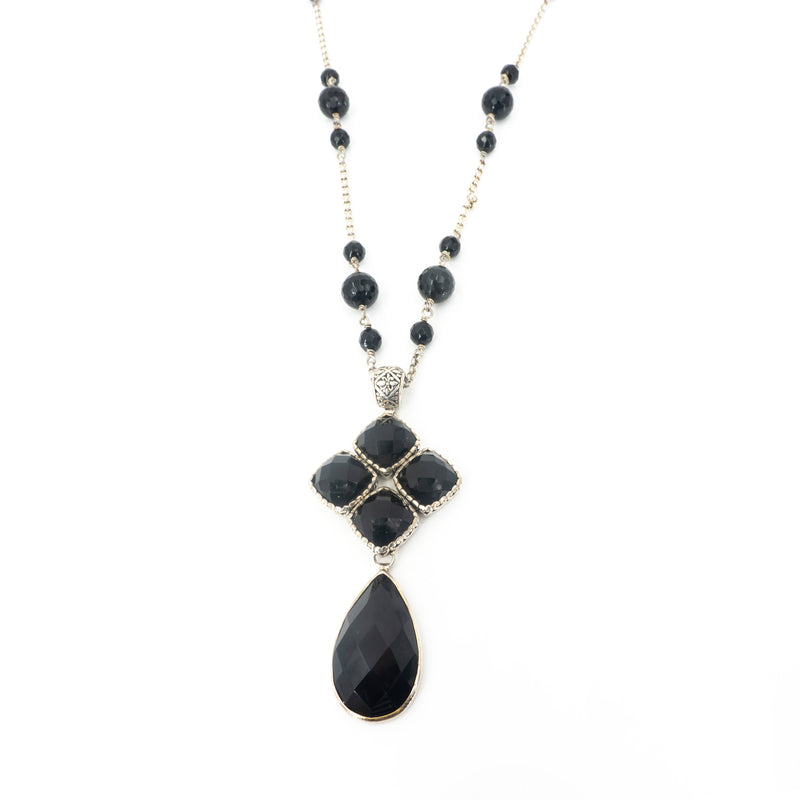 S/S Faceted Onyx Necklace
