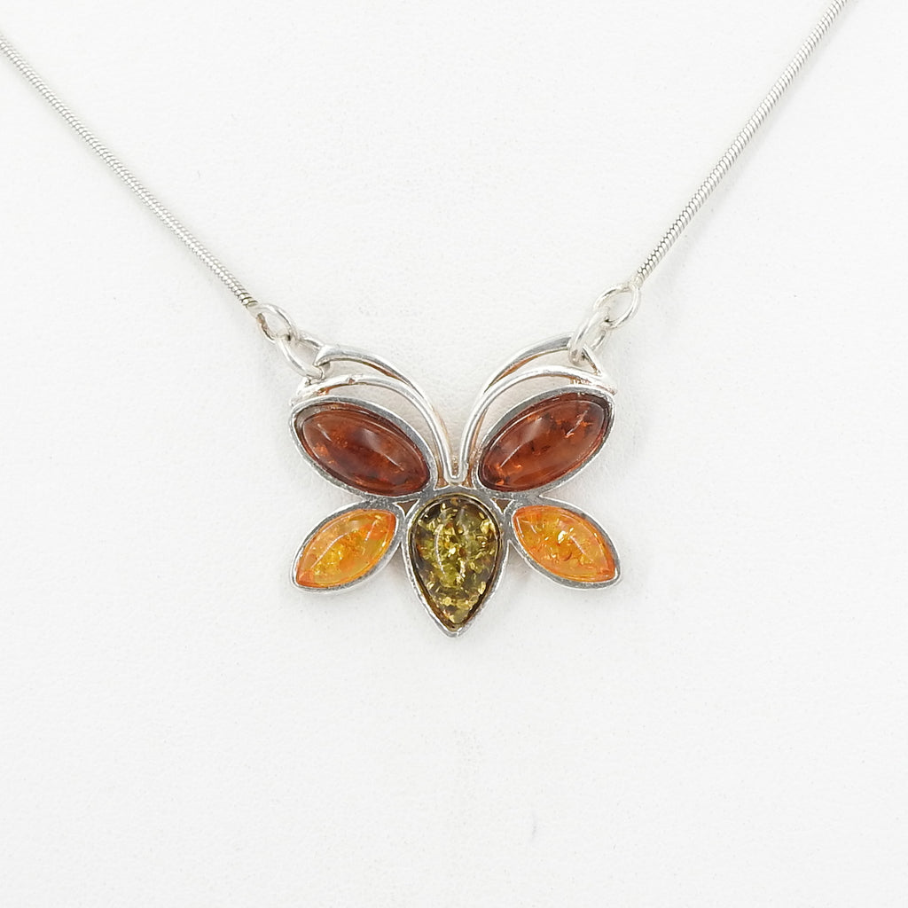 S/S Mixed Amber Butterfly Necklace