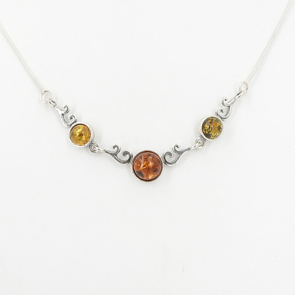 Sterling Silver Mixed Amber Necklace