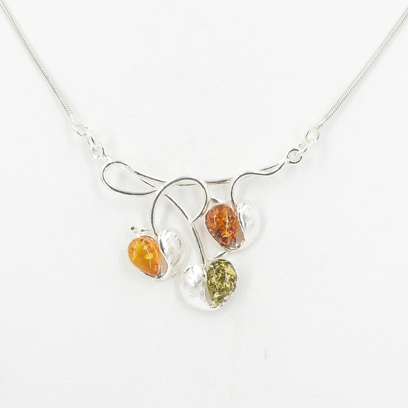 S/S Mixed Amber 1/2 Heart Necklace