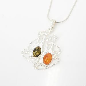 S/S Cat Family W Amber Pendant