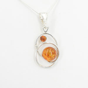Sterling Silver Twisted Loop Amber Pendant