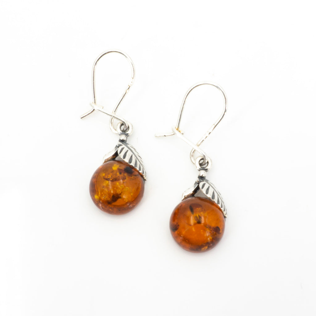 S/S Amber W Leaf Earrings
