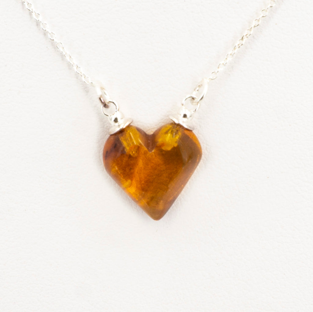 S/S Amber Heart Necklace