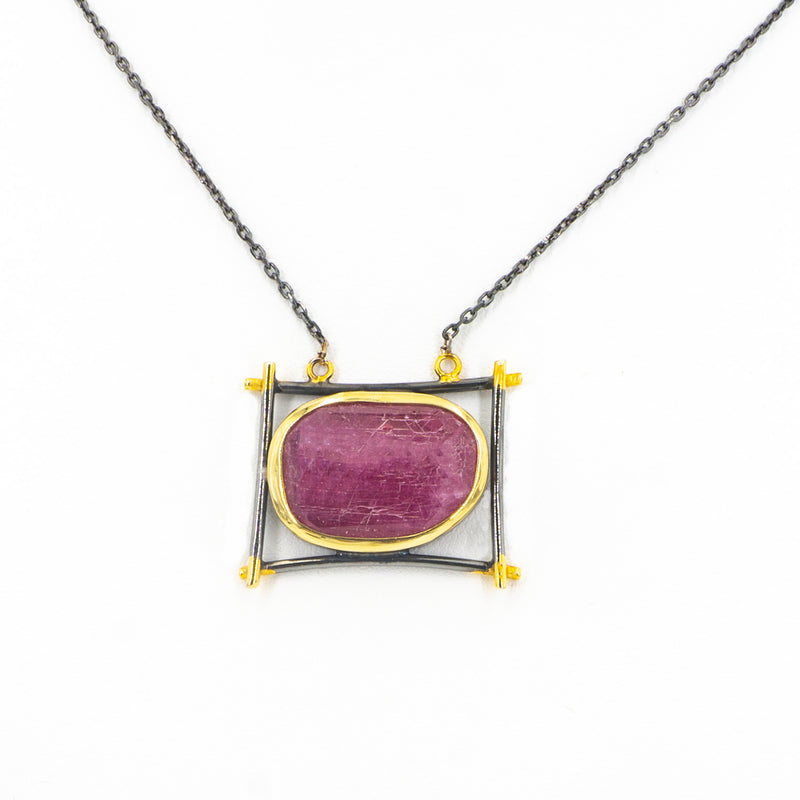 S/S Ruby Rectangle Necklace
