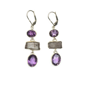 Kunzite & Amethyst Earrings