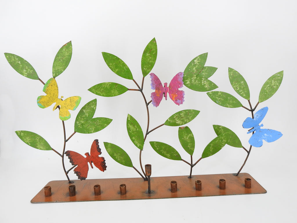Metal Butterflies Menorah