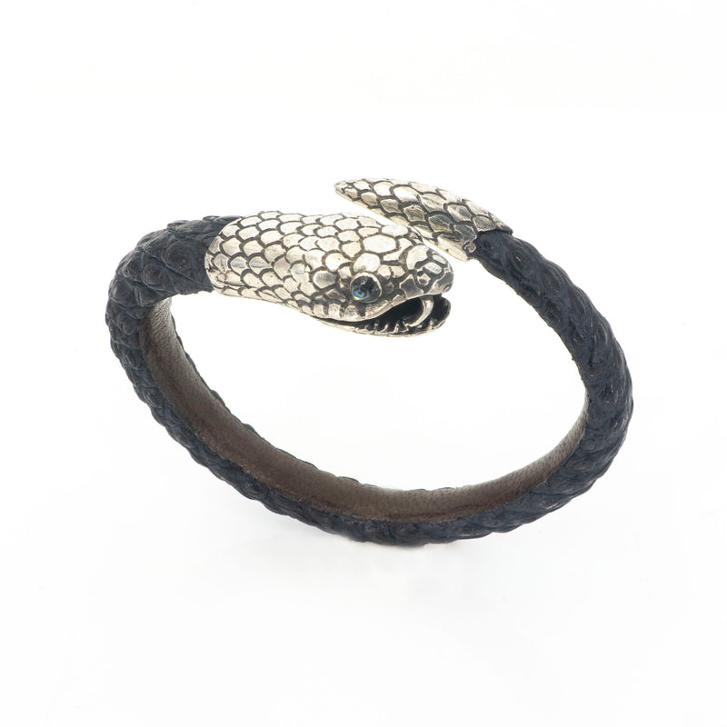 S/S Baby Snake On Leather Bracelet