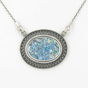 Sterling Silver Roman Glass Necklace