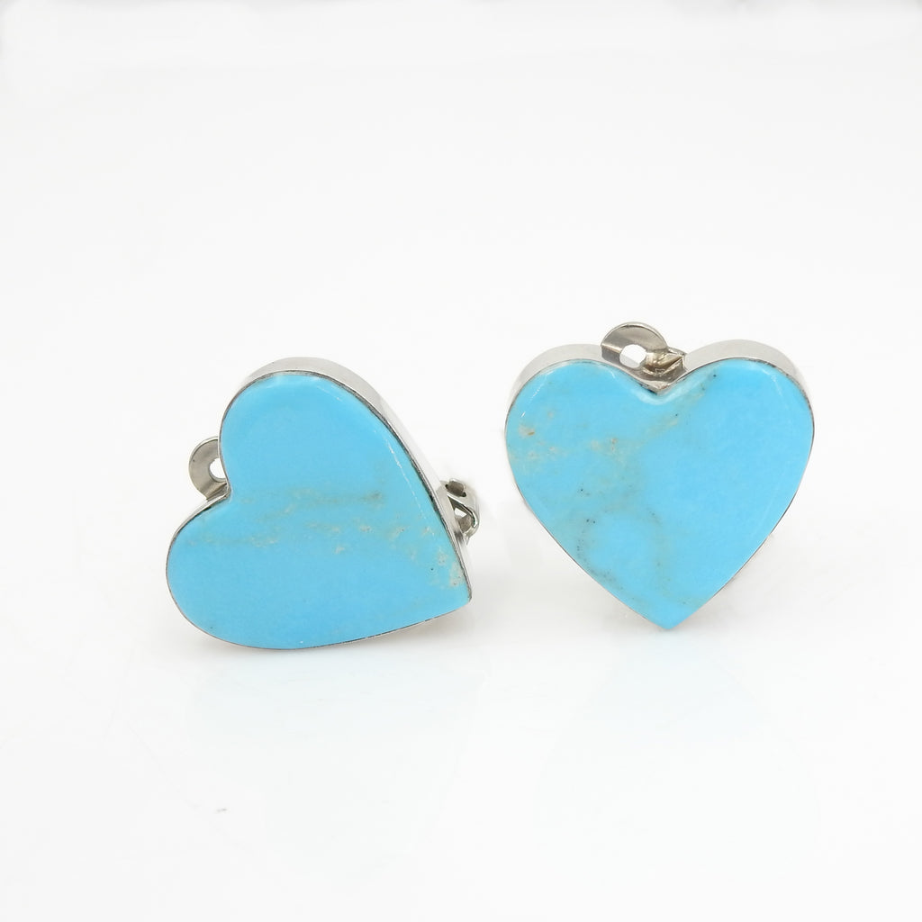 Sterling Silver Turquoise Heart Clip-On Earrings