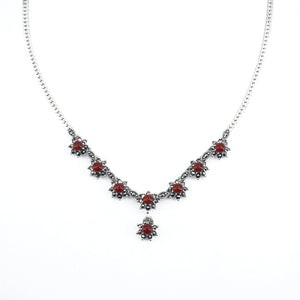 Marcasite Carnelian Starburst Necklace