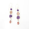 S/S Rose Quartz Amethyst Earring