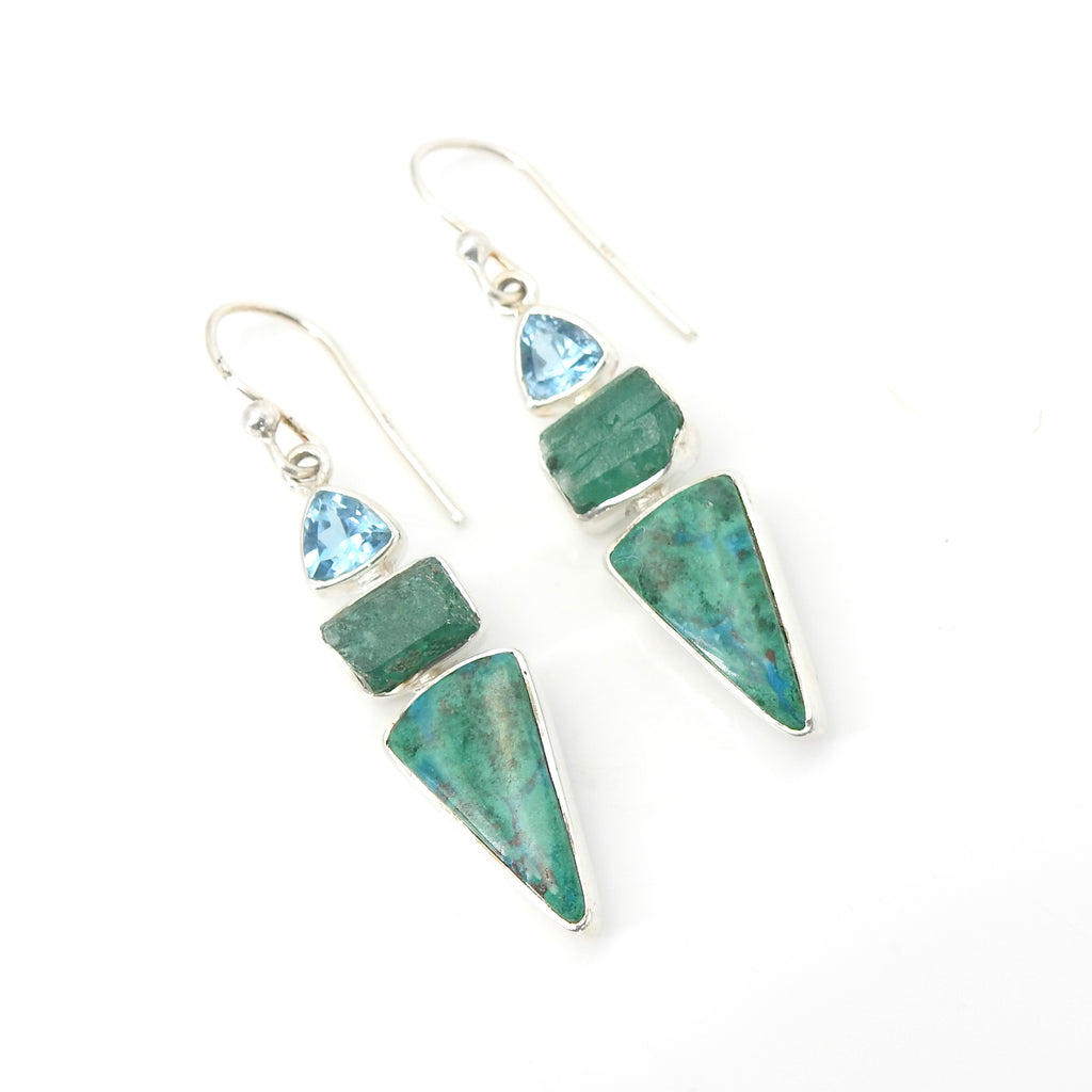 Sterling Silver Apatite Chrysocolla & Blue Topaz Earrings