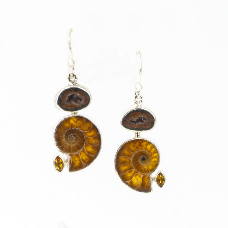 S/S Ammonite Citrine Geode Earring