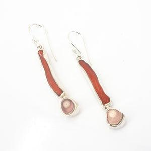 S/S Coral and Jasper Earrings