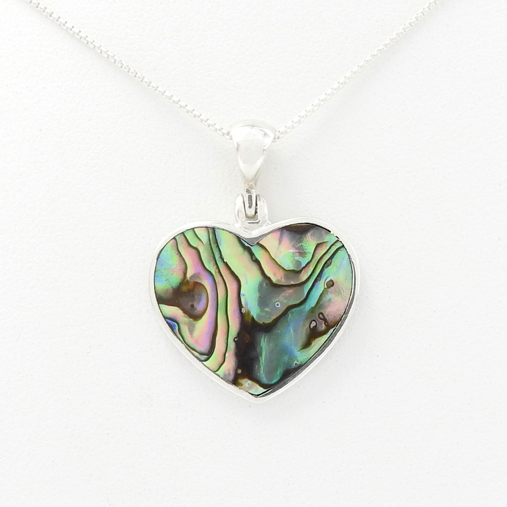 Sterling Silver Abalone Heart Pendant