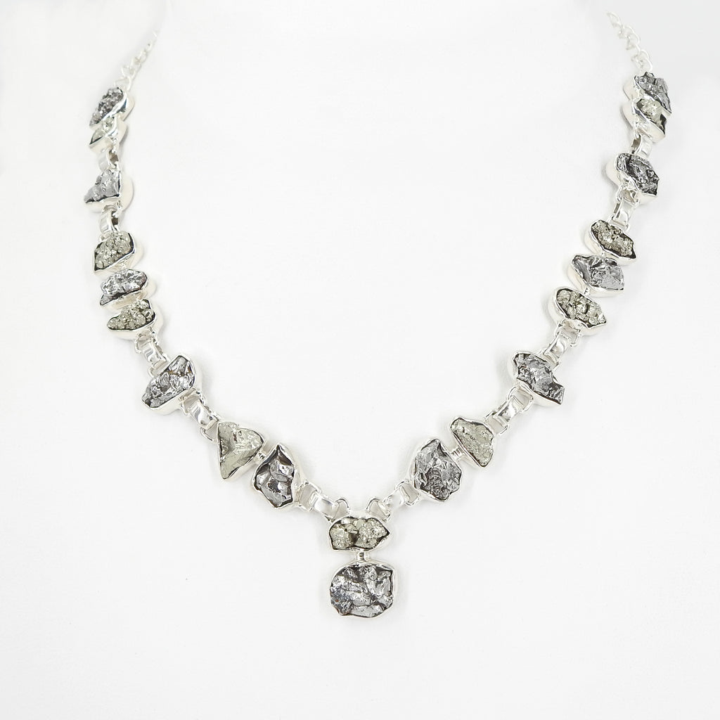 Sterling Silver Meteorite & Pyrite Necklace
