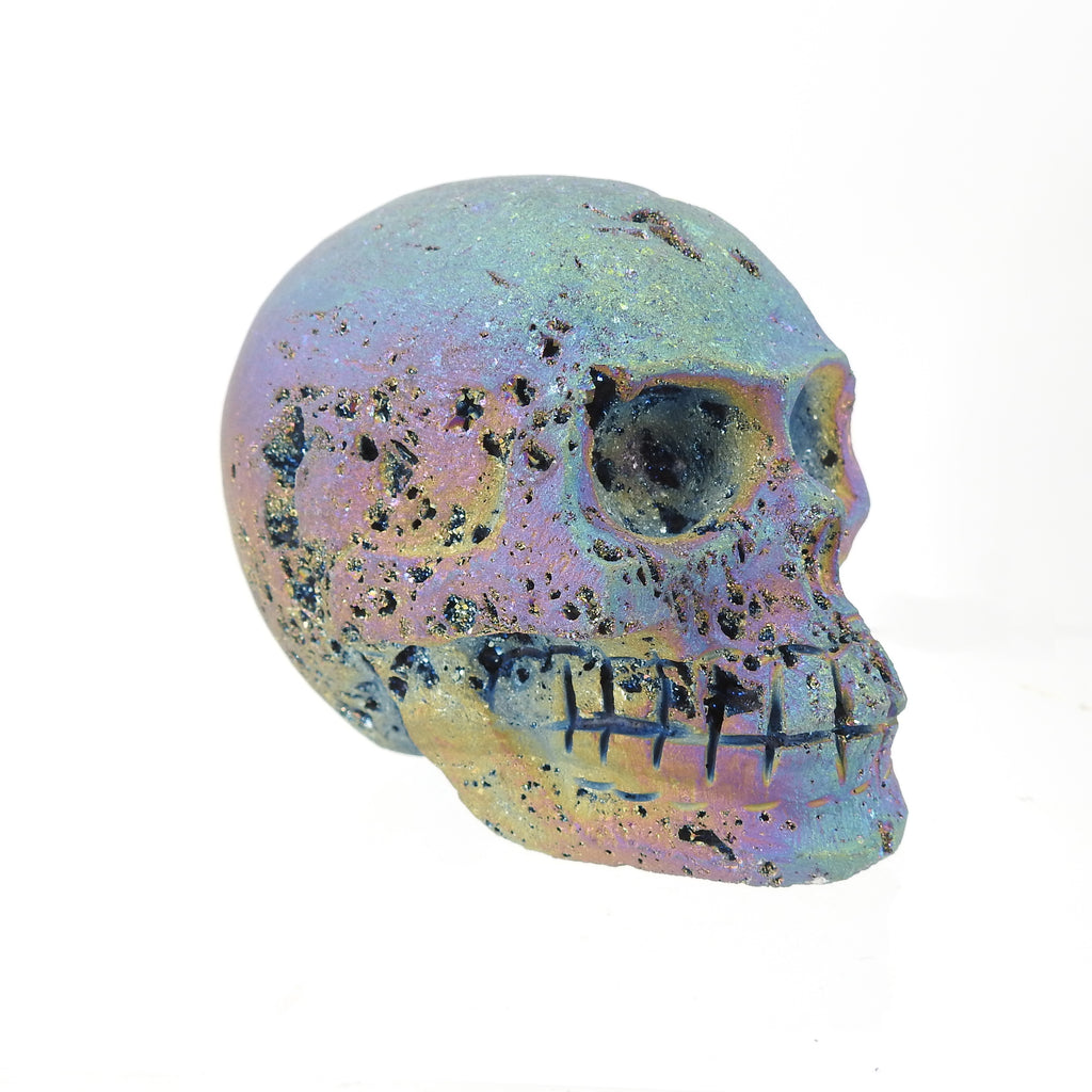 Skull Carving From Titanium Druzy