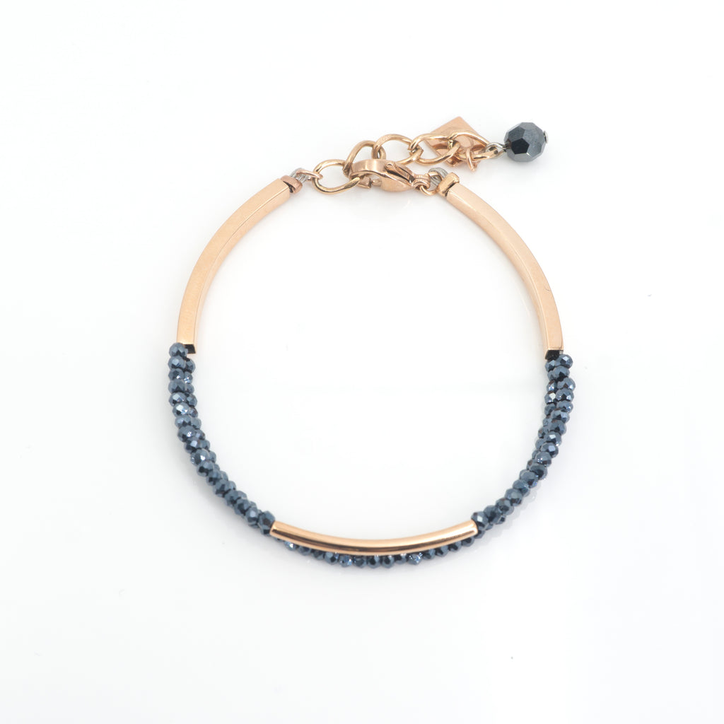 Crystal & Rose Gold Dark Blue Bracelet