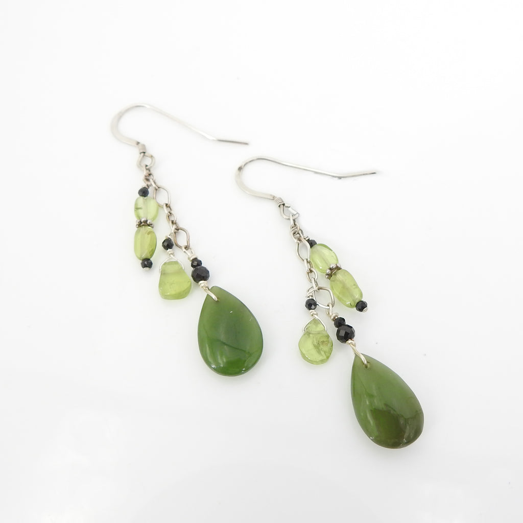 Sterling Silver Jade & Peridot Earrings