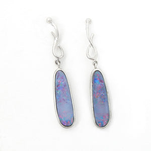 Sterling Silver Natural Boulder Opal Earrings