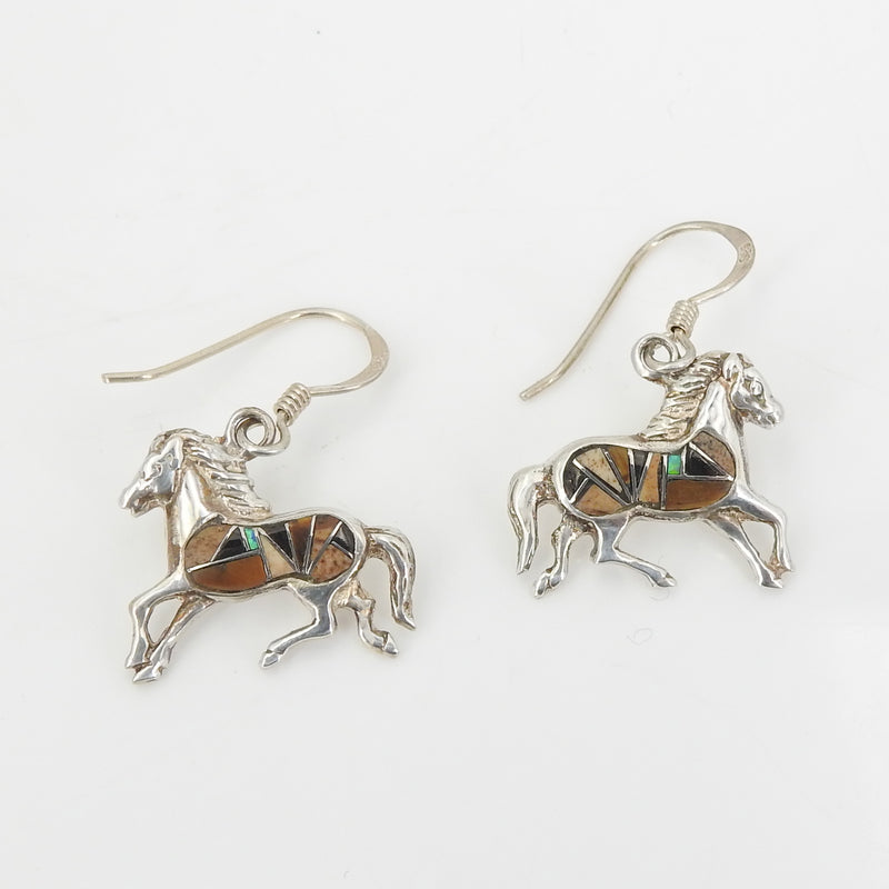 Sterling Silver Inlay Horse Earrings