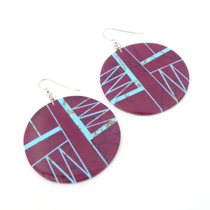 S/S Round Inlay Earring