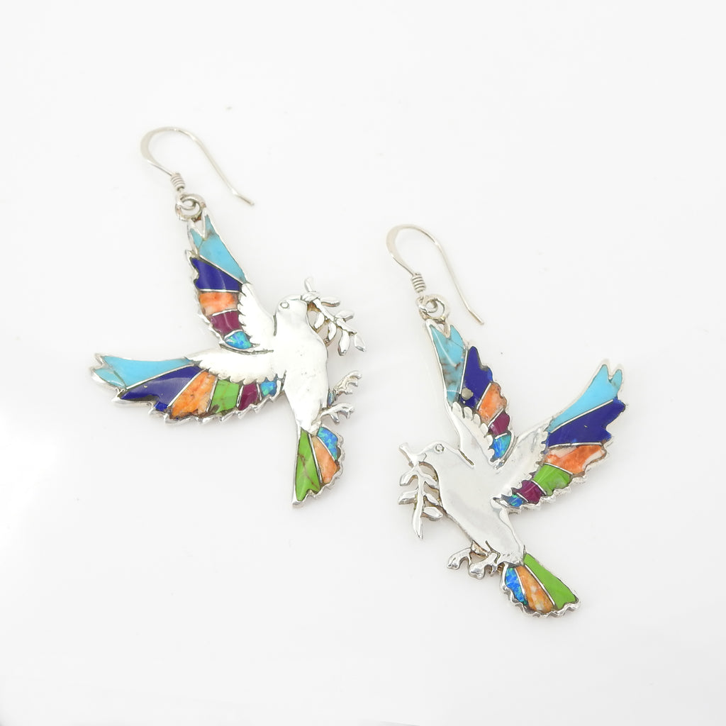S/S Multi Color Inlay Dove Earrings