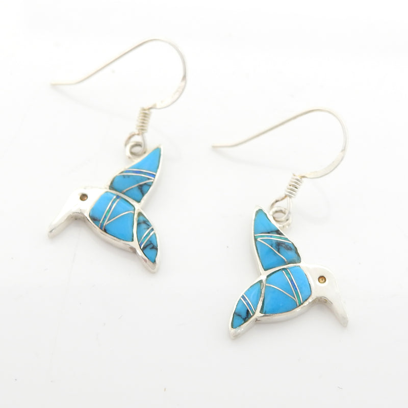 Sterling Silver Hummingbird Turquoise & Created Opal Inly Earrings