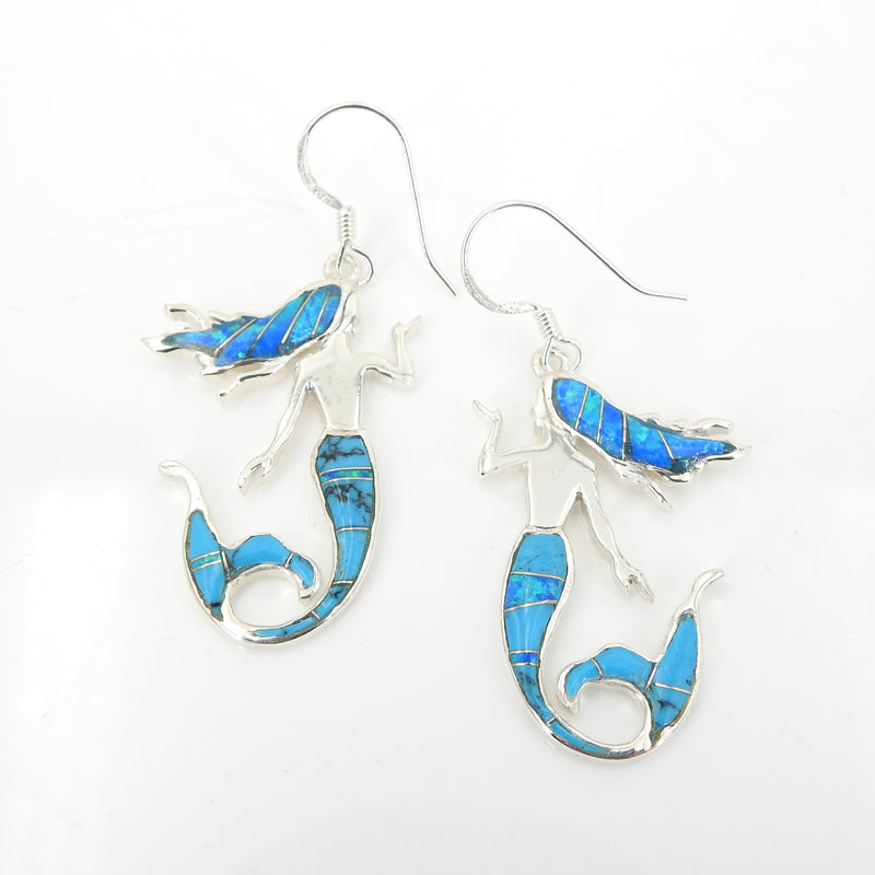 Sterling Silver Created Opal & Turquoise Inlay Mermaid Earrings