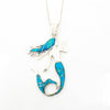 S/S Opal Turquoise Inlay Mermaid Pendant