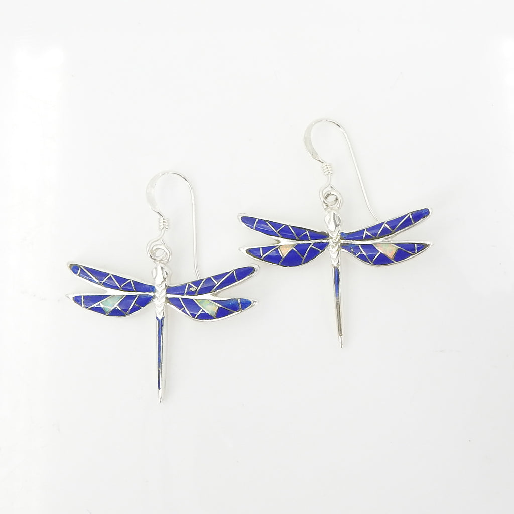 Sterling Silver Dragonfly Inlay Earrings