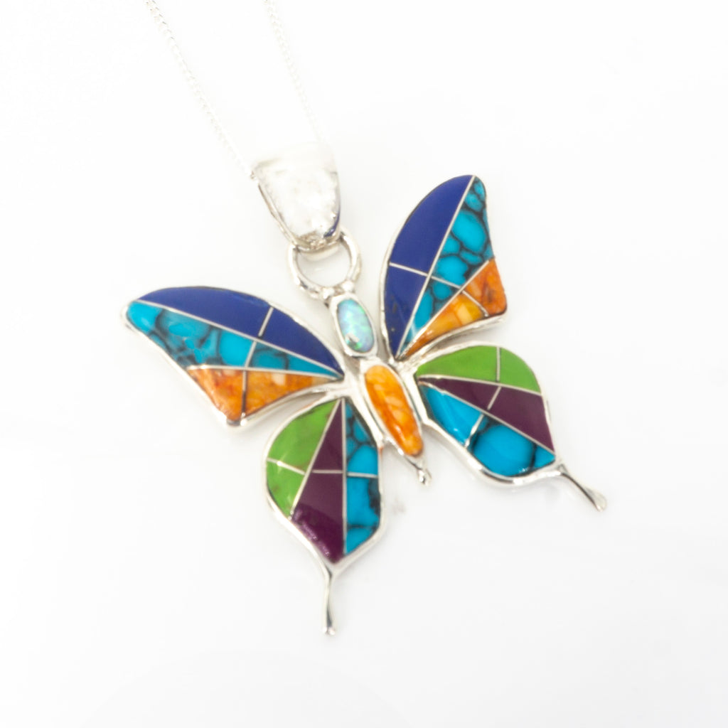 S/S Butterfly Inlay Pendant