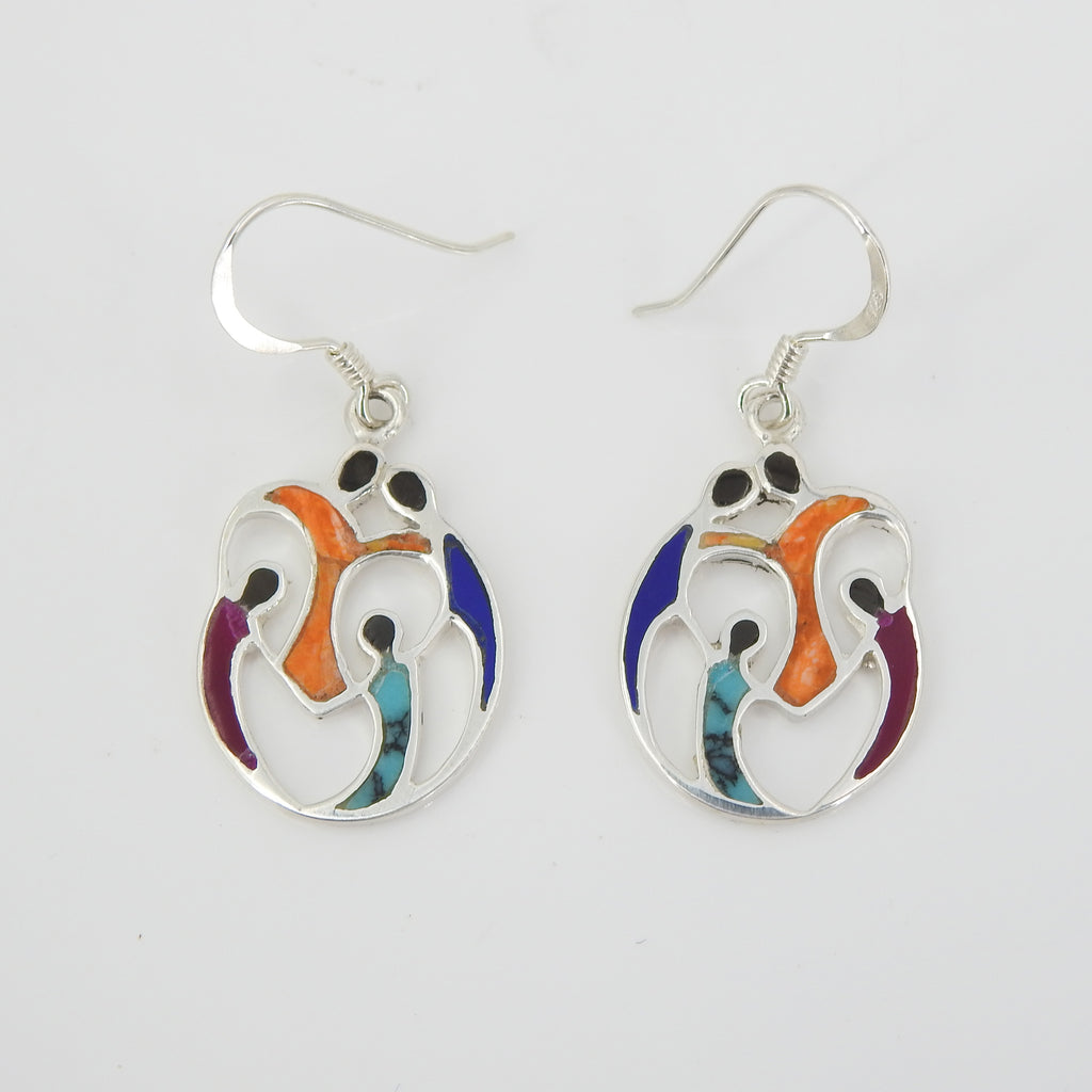 Sterling Silver Family Inlay Earrings