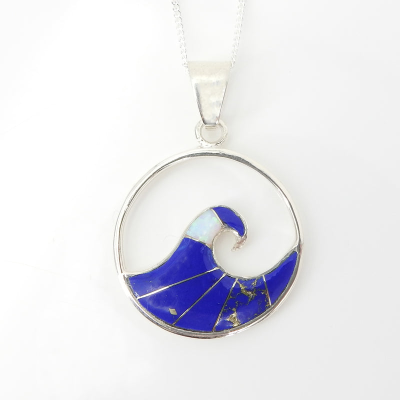 S/S Wave Inlay Pendant