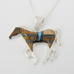 Sterling Silver Horse Inlay Pendant