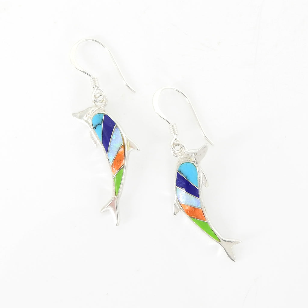 Sterling Silver Inlay Dolphin Earrings