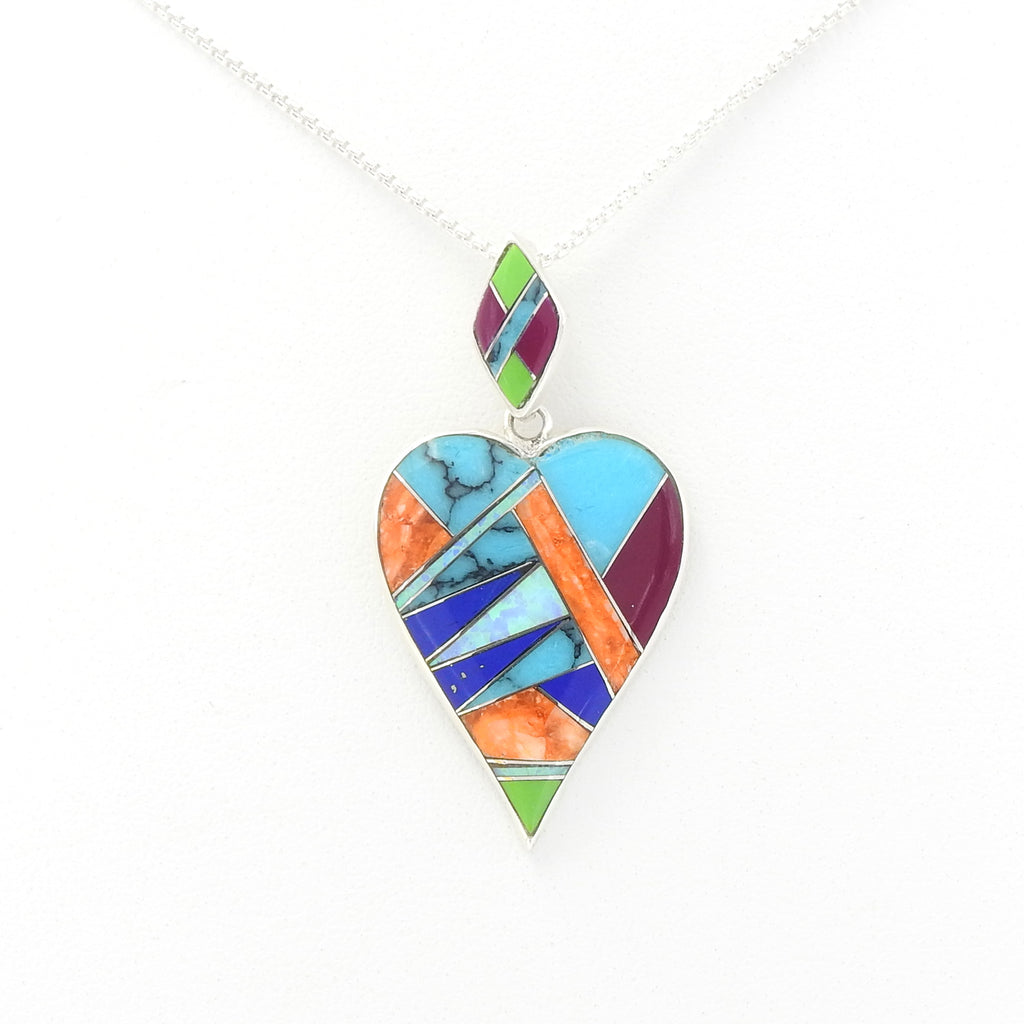 Sterling Silver Heart Inlay Pendant