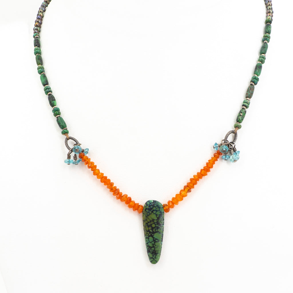 Turquoise Coral and Hematite Necklace