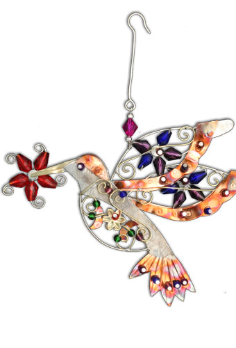Flower Hummingbird Ornament